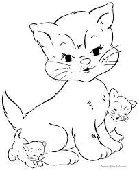 Small Picture Cat and Kitten Coloring Pages