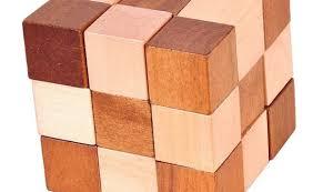 kingou 7 pack 3d wooden cube brain teaser puzzle snake cube