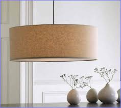 captivating drum shades chandelier made from light brown canvas cloth