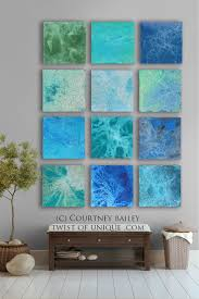 blue ocean themed square frame adorable pictures abstract wall art twelve frames large simple canvas relaxing