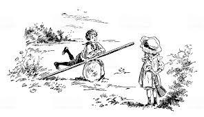 Antico Libro Per Bambini Illustrazione Fumetto Ragazzo E Ragazza