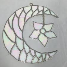 half moon and flower wall art stained glass