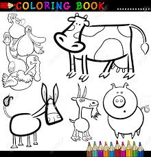 coloring book or page cartoon ilration of funny farm and livestock s for children stock vector