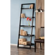 ... Leaning Ladder 5 Shelf Bookcase Espresso Black Color Plus Many Books  And On Beautiful Decorative Flower ...