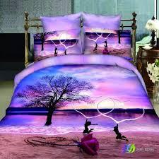 fashion home textile sets lake sunset rose 3d beach bedding set light purple duvet