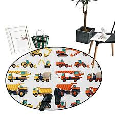 construction home decor circle area rug set of construction machinery and equipment transportation careers mechanics circle rugs for living room 43