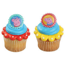24 Peppa Pig Siblings Cupcake Cake Rings Birthday Party Favors