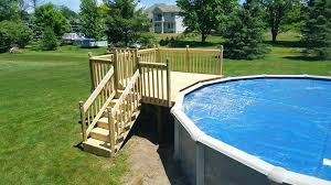lighted deck steps complete cooking area pool above ground swimming pool deck steps