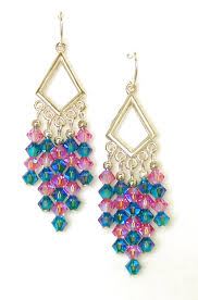 03 04 349 pink blue crystal chandelier earrings