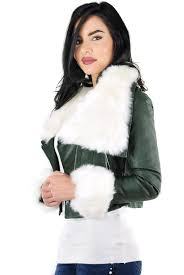 jessyss faux fur lining leather look jacket with detachable faux fur collar and cuffs
