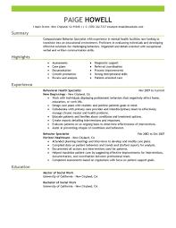 Behavior Specialist resume example