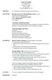 Manufacturing Engineer Resume Examples Mechanical Engineering Resume Sample Sample Mechanical Engineering