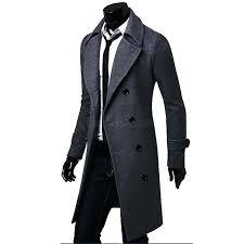 long coat for men men winter warm wool trench coat double ted long coat mens long coat for men