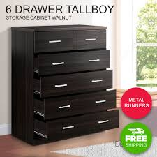 Tallboy Dresser 6 Chest Of Drawers Table Cabinet Bedroom Storage Walnut  Wood Buy Now