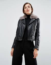 whistles real leather jacket with faux fur collar womens jacket s