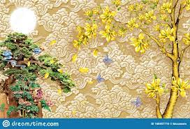 Chinese 3D Wallpaper Mural With Beige ...
