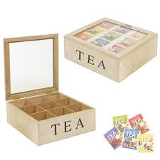 9 compartments wooden tea chest storage box coffee capsule kitchen glass lid by eg homewares for kitchen in australia