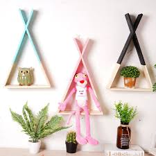 nordic style wooden triangle shelf wall hanging trigon storage book shelf organizer kid baby room livingroom