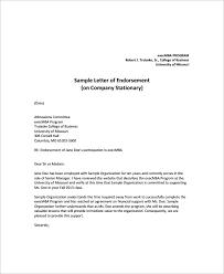 10 Sample Endorsement Letters Pdf Sample Templates
