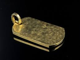 men s solid 14k yellow gold military dog tag vs2 real diamond pendant 3 0ct 1 2