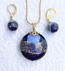 murano glass cobalt blue gold waves
