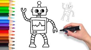Small Picture Learn How to draw a Robot Teach Drawing Coloring Page YouTube