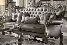 versailles silver faux leather tufted