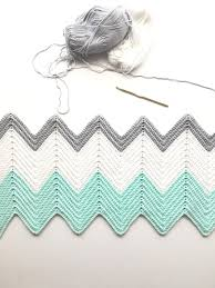 Chevron Crochet Blanket Pattern Beauteous Crochet Chevron Blanket In Mint Dove And White Daisy Farm Crafts