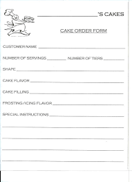 Sample Bakery Order Form Free Download Cake Template Word