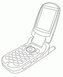 Cell Phone Coloring Page With Sketch Of A Cellphone Drawing Free