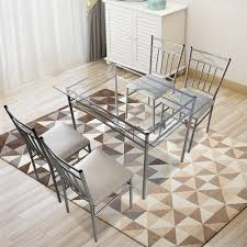 Top Knobs 5 Piece Dining Table Set Modern Glass Top Padded Seat