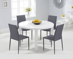 mark harris ava white high gloss round dining set with 4 stackable grey chairs 120cm