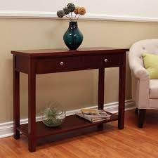 donnieann oakdale cherry storage console table  the home depot