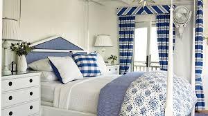 Blue-and-white coastal bedroom.