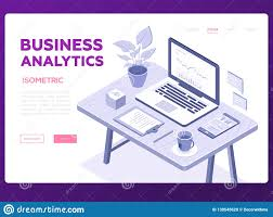 Office Tea Chart Business Analytics Banner Modern Vector Isometric