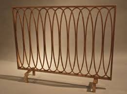geometric oval loops iron fireplace fire screen flat panel antique gold 40 l