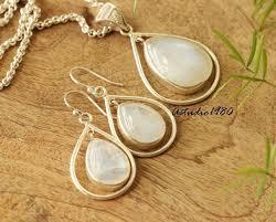 rainbow moonstone pendant necklace earring silver pendant set at astudio1980 com
