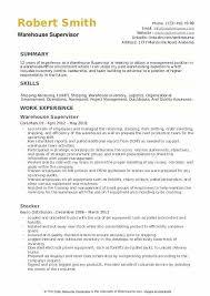 Warehouse Supervisor Resume Supervisor Resume Examples Emelcotest Com