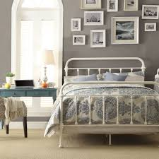 Inspire Q Giselle Antique White Graceful Lines Victorian Iron Metal Bed -  Queen Size. This Victorian Style Frame Looks Perfect in Any Bedroom.