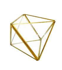 bloom room glass metal geometric shape terrarium gold finish