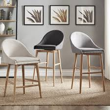 dining room bar furniture counter bar stools natoma natural mid century modern wood stool set of 2 inspire q modern
