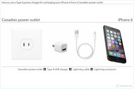 how to use a type a power charger for recharging your iphone 6 from a canadian