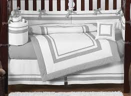 white and gray modern hotel baby bedding 9pc crib set by sweet jojo designs only 189 99