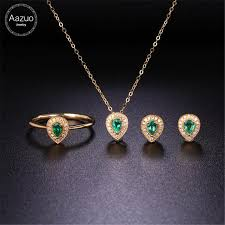 2019 aazuo 18k yellow gold natural emerald real diamonds ij si jewelry sets ring earring necklace gifted for women valentine s day from ogstuff