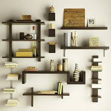 Woodwork Designs For Living Room Excellent Rectangle Floating Wall Mounted Bookshelves Design With