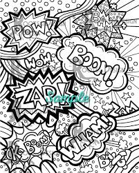 Small Picture INSTANT DOWNLOAD Coloring Page Comic Book Words Pop Art
