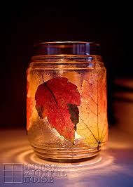 Leaf Tea Light Jar - perfect for Autumn weddings. Use an LED candle for a  safer alternative