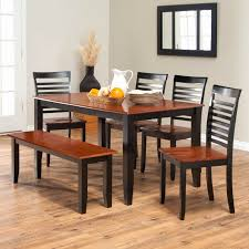 black dining room set with bench. Dining Room Table With Bench Seats Black Brown Wooden Varnish Elegant Set E