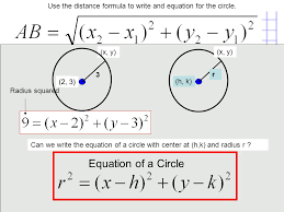 use the distance formula to write and equation for the circle