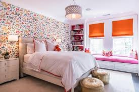 Pink and Orange Girl bedroom with Lulu DK Butterfly Multi Wallpaper